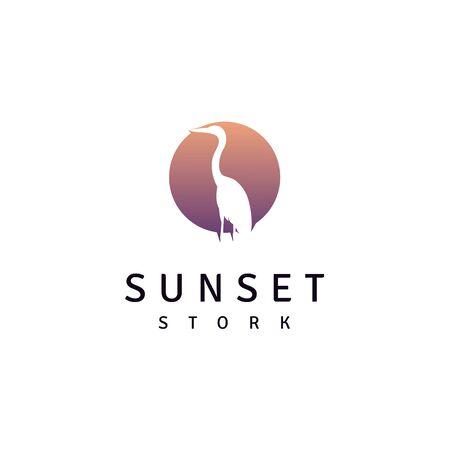 Stork Heron Bird on River lake Creek Sunset logo design 向量圖像