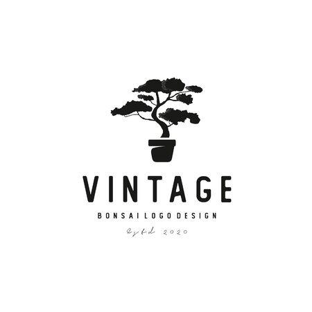 vintage bonsai tree logo design vector
