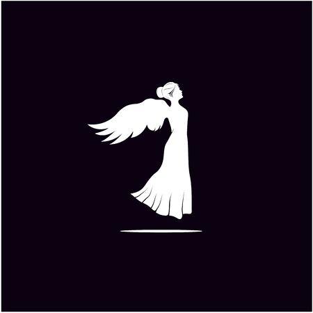 Silhouette of Beauty Woman Angel Logo design