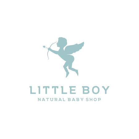 Cute Cupid for Baby Shop Market Store Label Logo Design