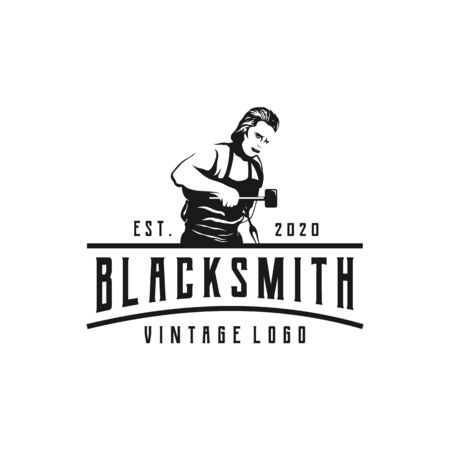 Retro Vintage logo for old forge. Blacksmith with hammer badge, forge and sledgehammer