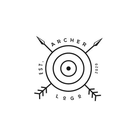 Crossed Arrows with circle target, Minimalist Rustic Hipster logo design with line art style