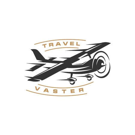 Retro vintage airplane with fast concept logo design
