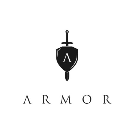 Knight Shield Armor Sword with Initial Letter A logo design template