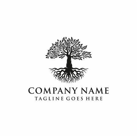 Tree, oak banyan leaf and root logo design inspiration