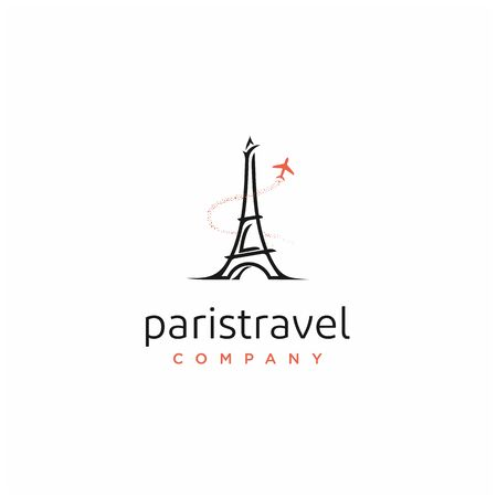 Paris eiffel tower with plane for travel logo design  イラスト・ベクター素材