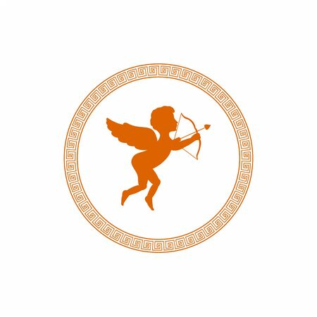 Cute cupid with Arrow and Wings with the greek ornaments Vectores
