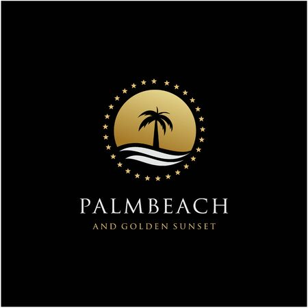 palm tree and golden sunset color logo design vector