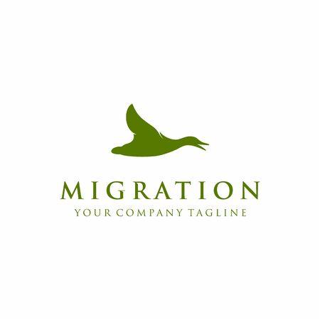Flying up Goose, swan, duck silhouette logo design