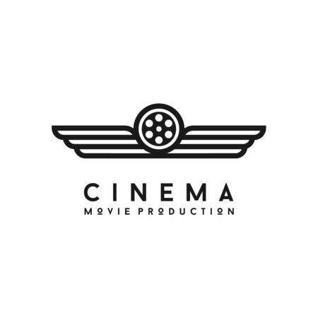 Wings and Film Reel for Movie Production Logo Design Иллюстрация