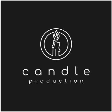 Luxury Candle Light Logo design vector illustration