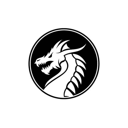 Chinese dragon snake Monster Badge Medallion Emblem Label Logo design