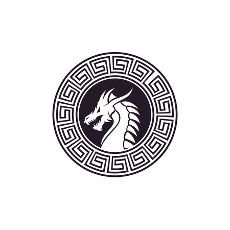Chinese dragon snake Monster with Chinese ornament badges Emblem Label Logo design.