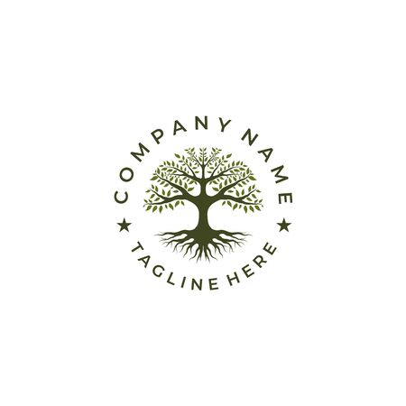 Tree of Life Stamp Seal Emblem Oak Banyan logo design tamplate