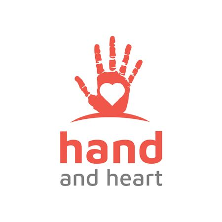 Hand Paint with heart love logo design vector  イラスト・ベクター素材