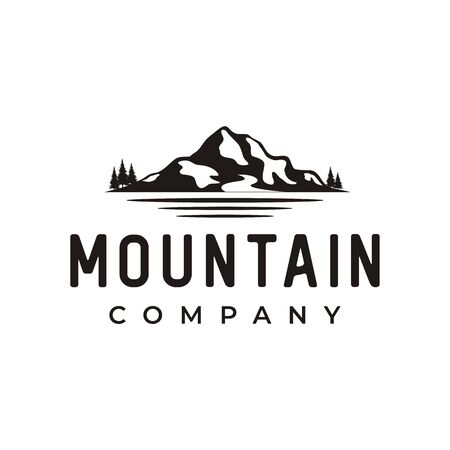 Mountain Landscape Silhouette with Sea and Lake River Forest logo design Illustration
