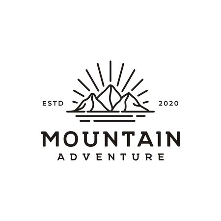 Line art hipster Mountain, Sea and Sun Adventure Traveling logo design