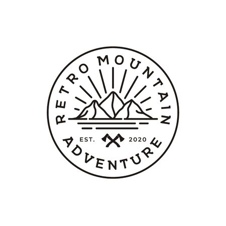 Vintage Mountain logo, Sun and Sea for Hipster Adventure Traveling Emblem Logo design