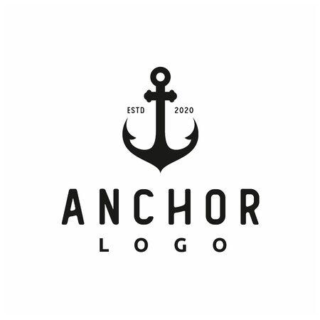 Vintage Retro Anchor Silhouette for boat ship navy nautical transport logo design