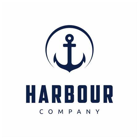Retro vintage anchor with circle logo design