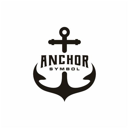 Simple silhouette anchor logo design for boat ship navy nautical transport, with vintage retro style