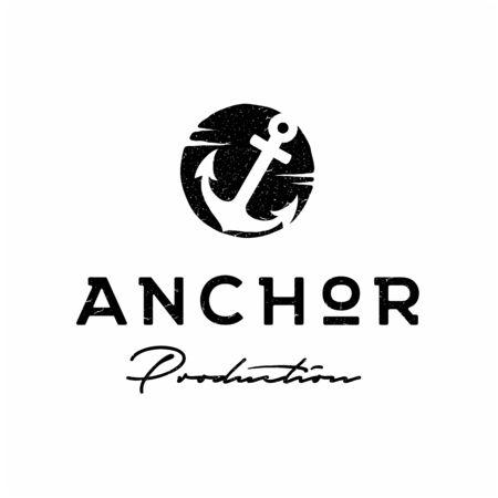 Rustic Retro Vintage Anchor Hand Drawn, Boat Ship Marine Navy Nautical logo design