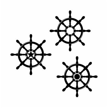 Steering Wheel for Boat Ship Yacht Compass Transport logo design