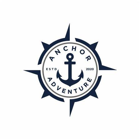 Retro Anchor with compass stamp badge emblem logo design