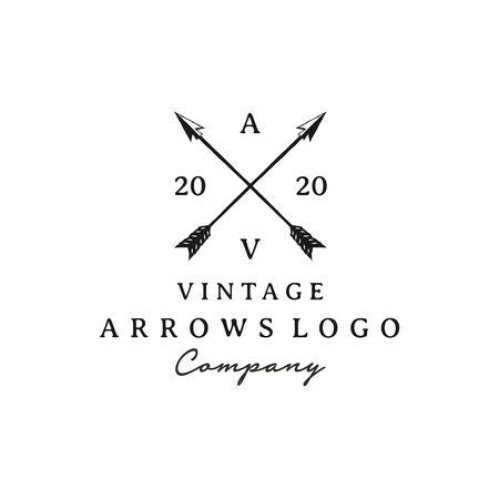 Vintage Rustic Hipster Crossed Arrow logo design Ilustração