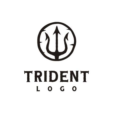 Vintage Retro Hipster Trident symbol, Poseidon Neptune God Triton King Logo Design