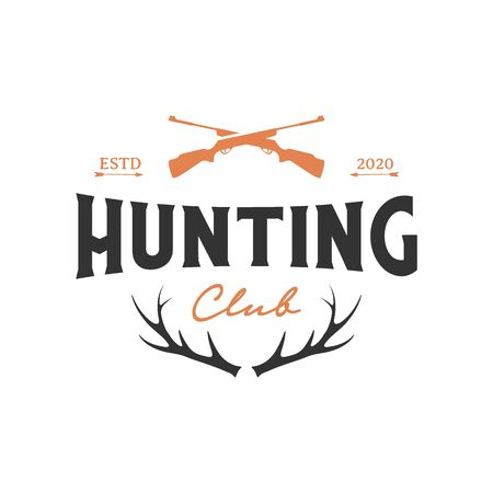 Vintage retro crossed air rifle and deer antlers for hunting logo design