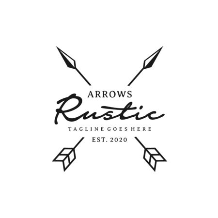 Vintage Rustic Hipster Crossed Arrow logo design Banco de Imagens - 150110738