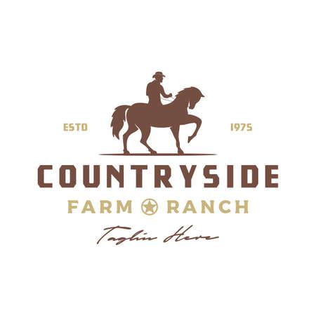 Vintage Retro Cowboy Riding Horse Silhouette logo design Vettoriali