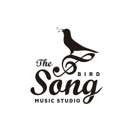 Vintage Singing Bird with Music Notes, Beautiful Melody with Music Notes for Song Vocal Logo Design Inspiration 向量圖像
