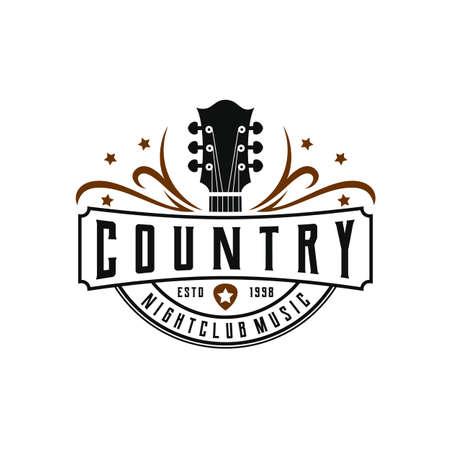 Classic country music , guitar vintage retro design