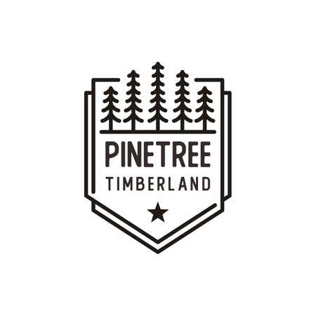 Retro Vintage line art Evergreen, Pines, Spruce, Cedar trees design