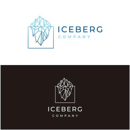 Iceberg logo geometric line outline / line art logo design inspiration