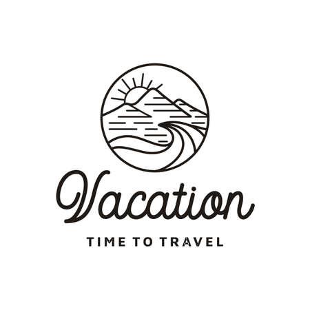 Mountain, Sea, Waves and Sun for Hipster Adventure Travel logo design Stock Vector - 155948164
