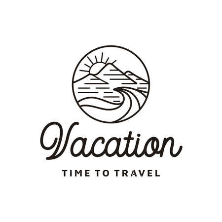 Mountain, Sea, Waves and Sun for Hipster Adventure Travel logo design