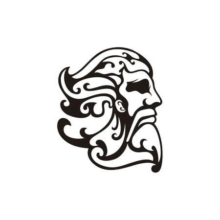 Greek god Zeus. Ancient Greek God Sculpture Philosopher. Face Zeus Triton Neptune  design
