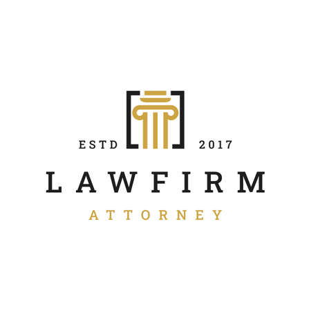 Law firm logo icon vector design. Universal legal, lawyer, justice scales, line art style logo design inspiration