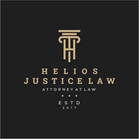 Initial letter H for Law firm logo icon vector design. Universal legal, lawyer, justice scales, line art style logo design inspiration