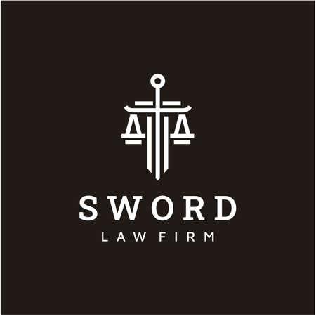 Law firm logo icon vector design. Universal legal, lawyer, justice scales, sword, line art style logo design inspiration Ilustração