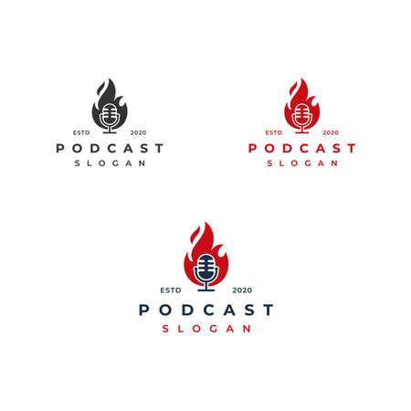 Fire flame podcast mic  design illustration