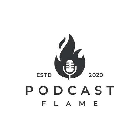 Vintage retro Fire flame podcast mic  design illustration Ilustração