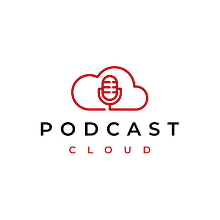 Line art Podcast Cloud , cloud computing with mic podcast  design 矢量图像