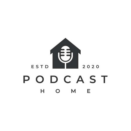 Mic podcast house home  design vector icon illustration