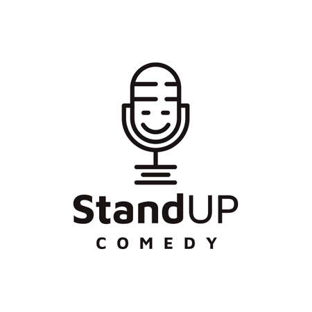 Line art mic, Comedy Podcast  Design Vector