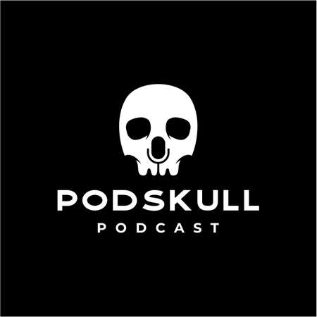 skull skeleton with mic as negative space for podcast logo design