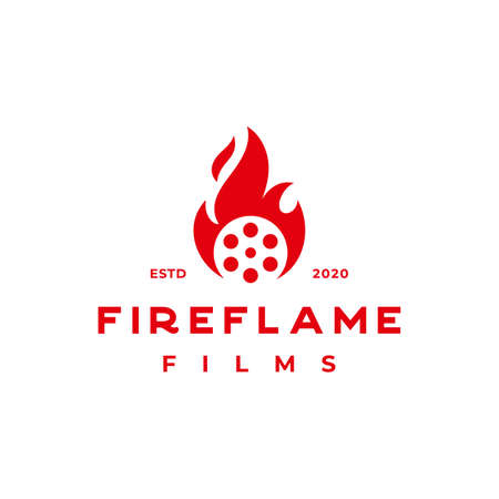 fire flame on roll film for production house or movie institution logo design